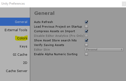 "Select ""Colors"" from the Unity Preferences menu that will appear"