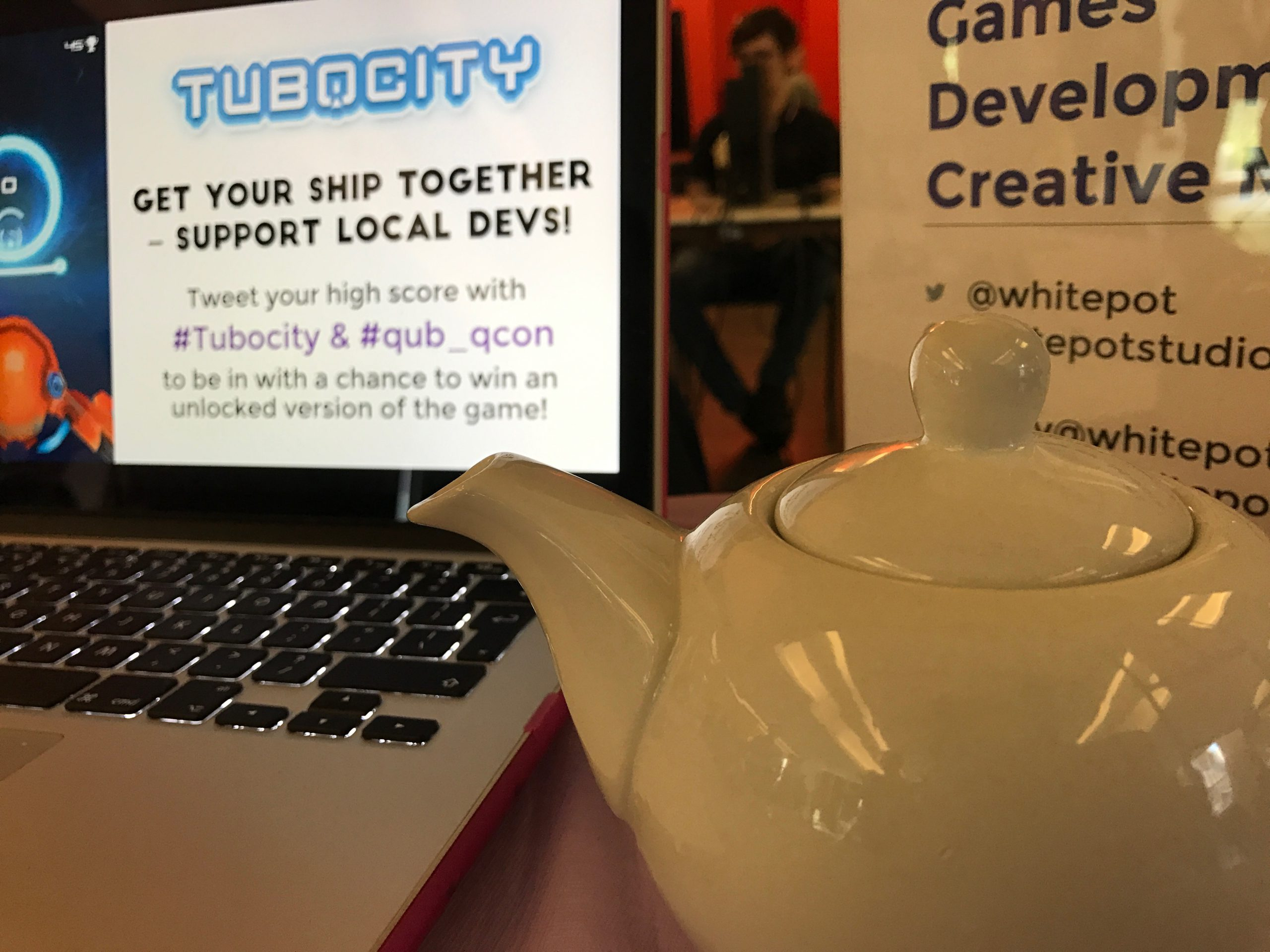 Whitepot Studios teapot at our Q-Con exhibition table in Belfast