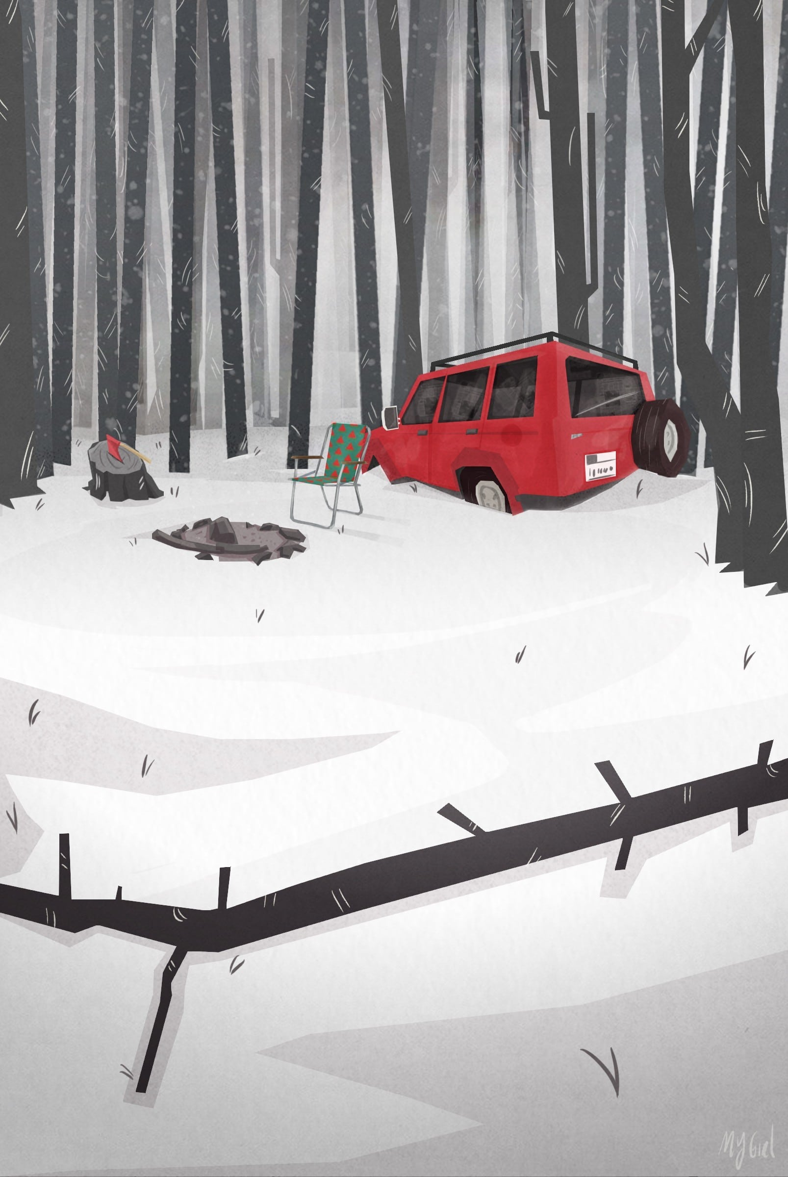 A red jeep in snow - in Murder At Malone Manor inspiration post by Matt McDyre
